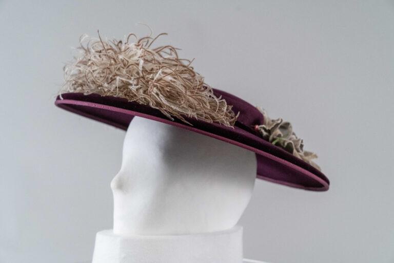 Photo of Dark Purple Velvet and Felt Cartwheel Hat with White Ostrich Feather