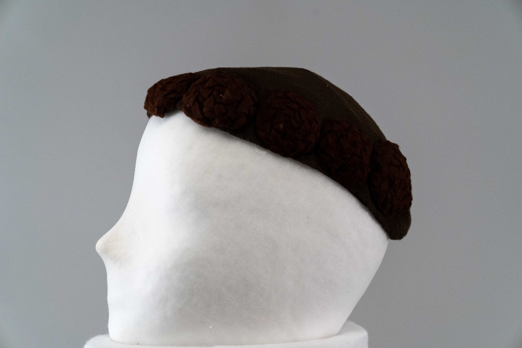 Photo of Brown Jersey Turban with Brown Felt Braided Circled Medallions