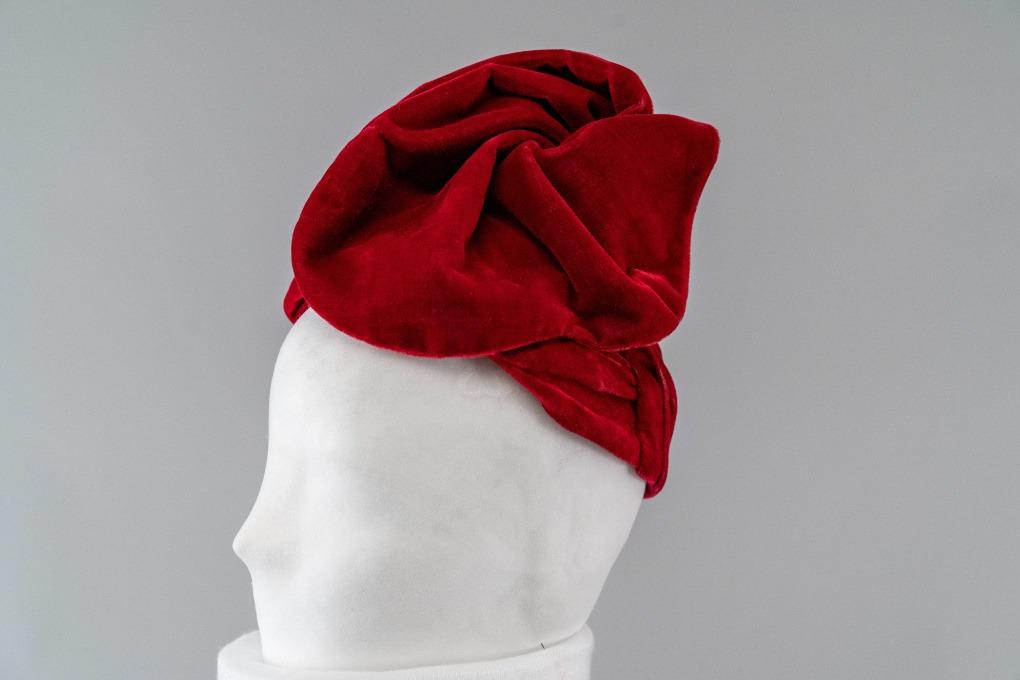 Photo of Dark Red Velvet Turban with High Standing Scallop-Edged Swirl