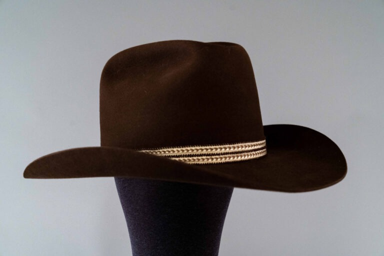 Photo of Dark Brown Beaver Felt Cowboy Hat with Feathers
