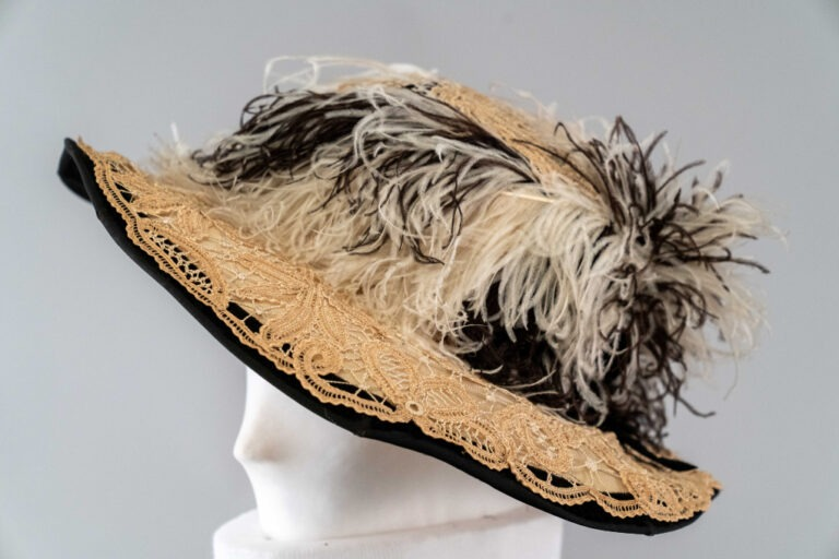 Photo of Black and White Hat with Lace and Black and White Feathers